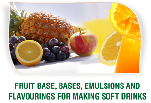 Fruit base, bases, emulsions and flavourings for making soft drinks